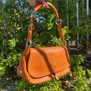 Prada Vitello Daino Semitracolla Leather Handbag